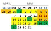 Brückentage im Mai - 1.Mai, Himelfahrt, Pfingsten...